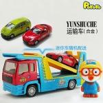 韩国正版 pororo 儿童小玩具车惯性回力合金工程运输车玩具
